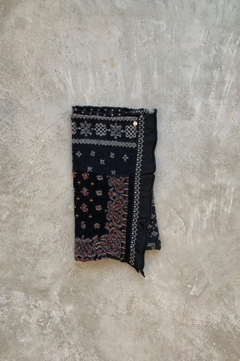 Kapital Compressed Wool Scarf Patchwork Black
