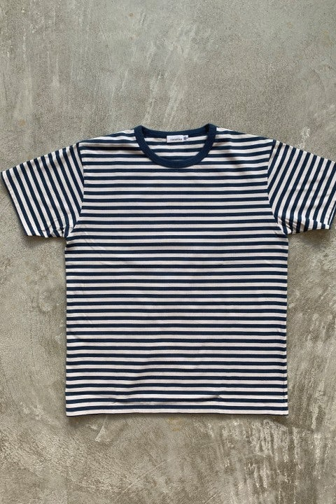 Nanamica Coolmax Striped Jersey Tee Slate Blue & Ivory