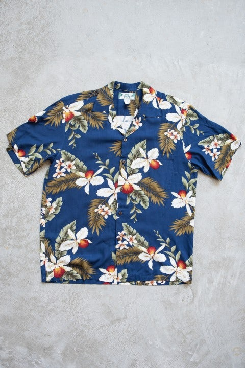 Two Palms Hawaiin Orchid Shirt Navy