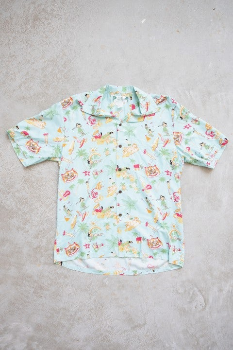 Two Palms Vintage Aloha Shirt Aqua