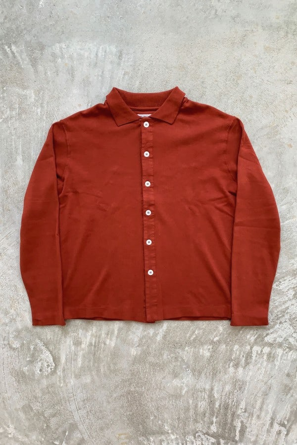 Lady White Co. Placket Polo Red Ochre L/S